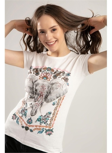 Pattaya Pattaya Kadın Fil Baskılı Kısa Kol Tişört Y20S150-1035 Renkli